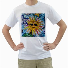 Sun From Mosaic Background Men s T-Shirt (White) (Two Sided)