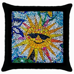 Sun From Mosaic Background Throw Pillow Case (Black)