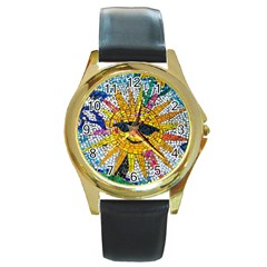 Sun From Mosaic Background Round Gold Metal Watch