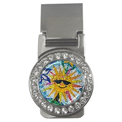Sun From Mosaic Background Money Clips (cz)