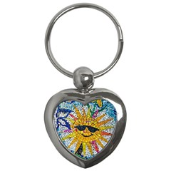 Sun From Mosaic Background Key Chains (Heart)