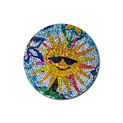 Sun From Mosaic Background Rubber Coaster (round)