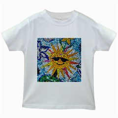 Sun From Mosaic Background Kids White T Shirts