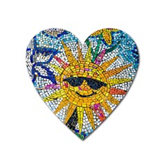 Sun From Mosaic Background Heart Magnet
