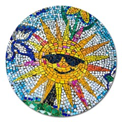Sun From Mosaic Background Magnet 5  (Round)