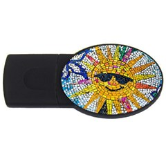 Sun From Mosaic Background USB Flash Drive Oval (1 GB)