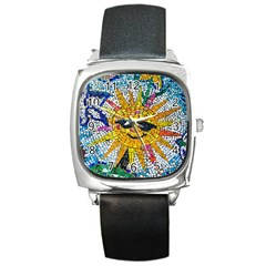 Sun From Mosaic Background Square Metal Watch