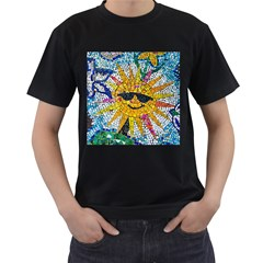 Sun From Mosaic Background Men s T-Shirt (Black) (Two Sided)