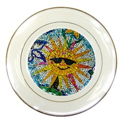 Sun From Mosaic Background Porcelain Plates