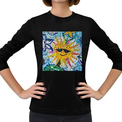 Sun From Mosaic Background Women s Long Sleeve Dark T Shirts