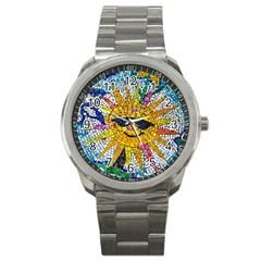 Sun From Mosaic Background Sport Metal Watch