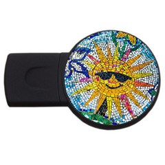 Sun From Mosaic Background Usb Flash Drive Round (4 Gb)