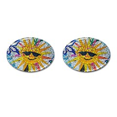 Sun From Mosaic Background Cufflinks (Oval)