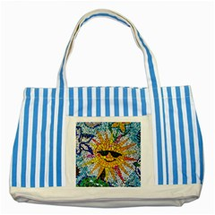 Sun From Mosaic Background Striped Blue Tote Bag