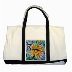 Sun From Mosaic Background Two Tone Tote Bag