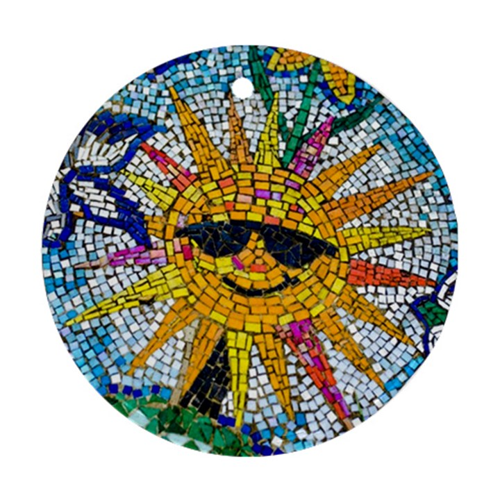 Sun From Mosaic Background Round Ornament (Two Sides)