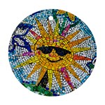Sun From Mosaic Background Round Ornament (Two Sides) Back