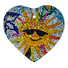 Sun From Mosaic Background Heart Ornament (Two Sides)