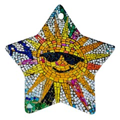 Sun From Mosaic Background Star Ornament (two Sides)