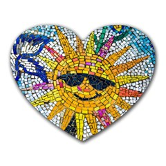 Sun From Mosaic Background Heart Mousepads