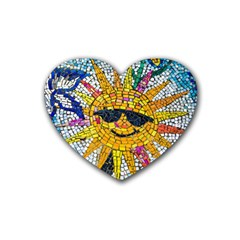 Sun From Mosaic Background Heart Coaster (4 pack)