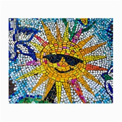 Sun From Mosaic Background Small Glasses Cloth (2-Side)