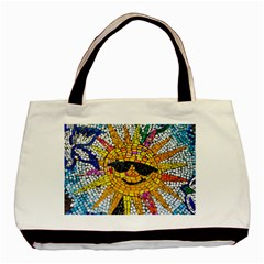 Sun From Mosaic Background Basic Tote Bag (two Sides)