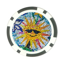 Sun From Mosaic Background Poker Chip Card Guard