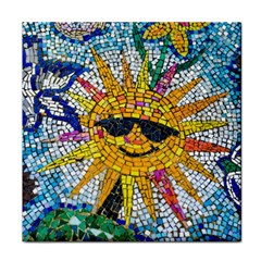Sun From Mosaic Background Face Towel