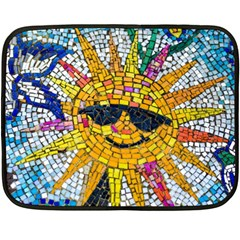 Sun From Mosaic Background Double Sided Fleece Blanket (mini)
