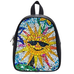 Sun From Mosaic Background School Bags (small)