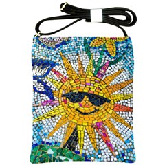 Sun From Mosaic Background Shoulder Sling Bags