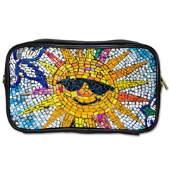 Sun From Mosaic Background Toiletries Bags