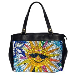 Sun From Mosaic Background Office Handbags (2 Sides)
