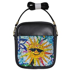 Sun From Mosaic Background Girls Sling Bags