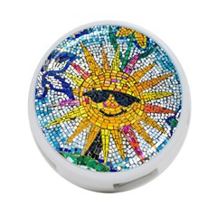 Sun From Mosaic Background 4-Port USB Hub (Two Sides)