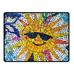 Sun From Mosaic Background Fleece Blanket (small)