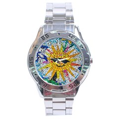 Sun From Mosaic Background Stainless Steel Analogue Watch