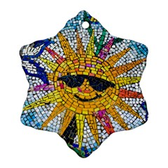 Sun From Mosaic Background Ornament (Snowflake)