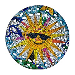 Sun From Mosaic Background Round Filigree Ornament (two Sides)