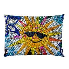Sun From Mosaic Background Pillow Case (Two Sides)