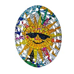 Sun From Mosaic Background Ornament (Oval Filigree)