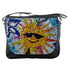 Sun From Mosaic Background Messenger Bags