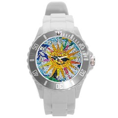 Sun From Mosaic Background Round Plastic Sport Watch (L)