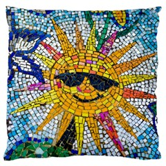Sun From Mosaic Background Large Cushion Case (two Sides)