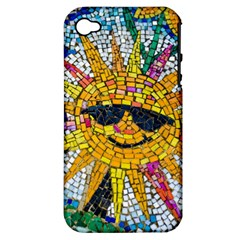 Sun From Mosaic Background Apple Iphone 4/4s Hardshell Case (pc+silicone)