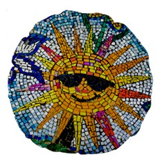 Sun From Mosaic Background Large 18  Premium Round Cushions