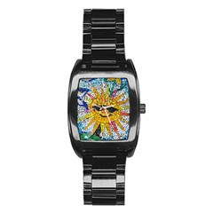 Sun From Mosaic Background Stainless Steel Barrel Watch