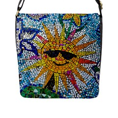 Sun From Mosaic Background Flap Messenger Bag (l)