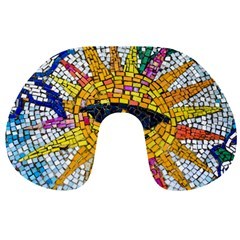 Sun From Mosaic Background Travel Neck Pillows